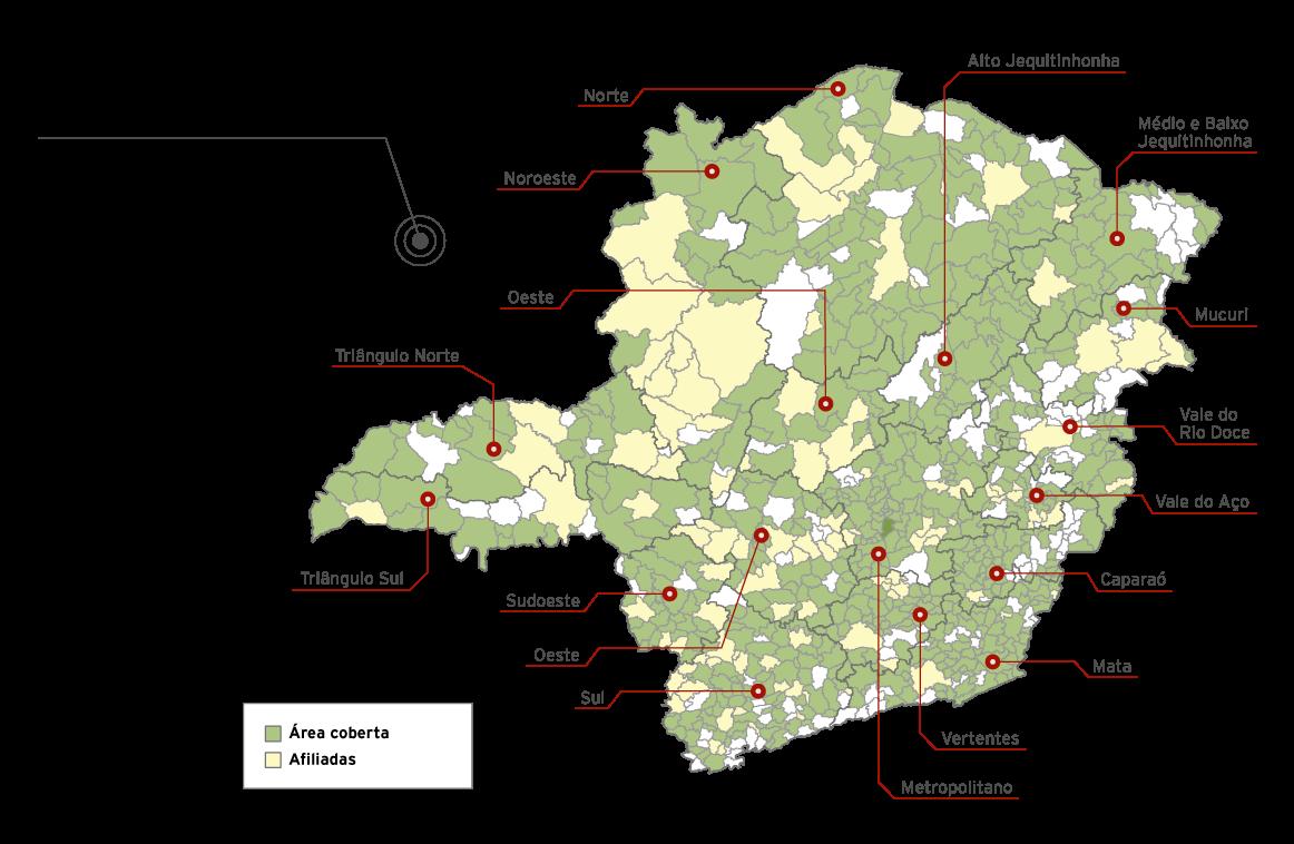 Cobertura do Sinal da Rede Minas - Mapa Detel