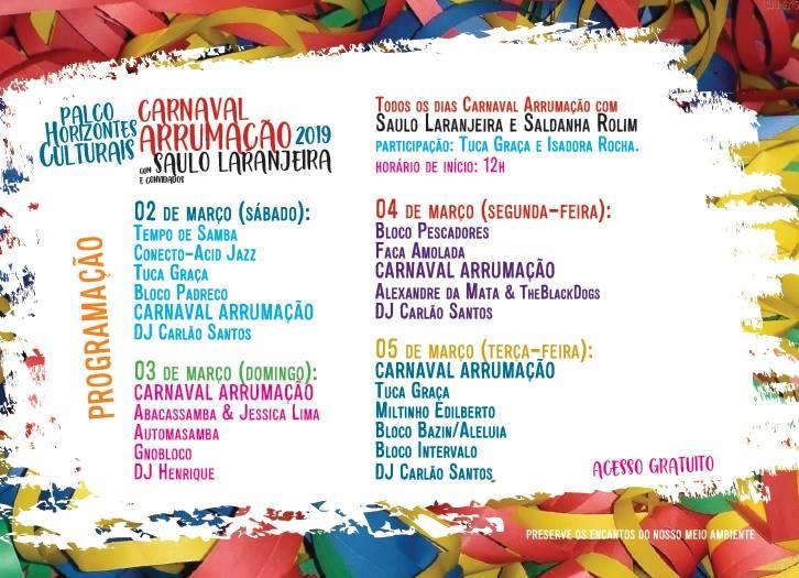 Programação do palco do Arrumação (Rede Minas) no carnaval